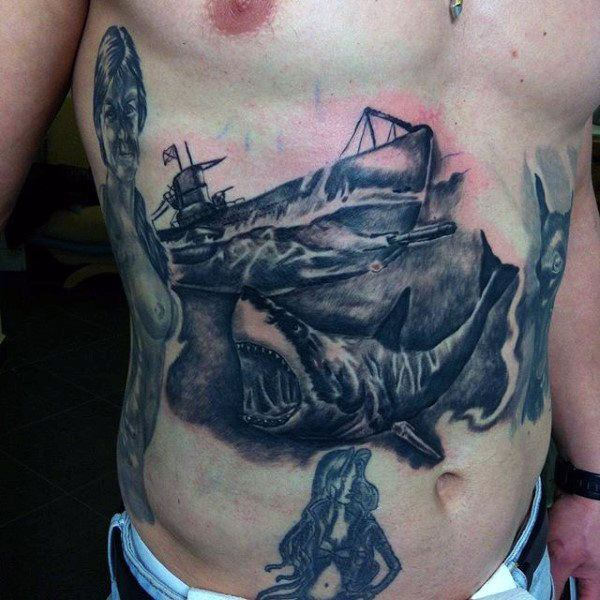 temporary ship stomach tattoo for men