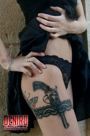 temporary tattoo revolver gun tattoo for ladies