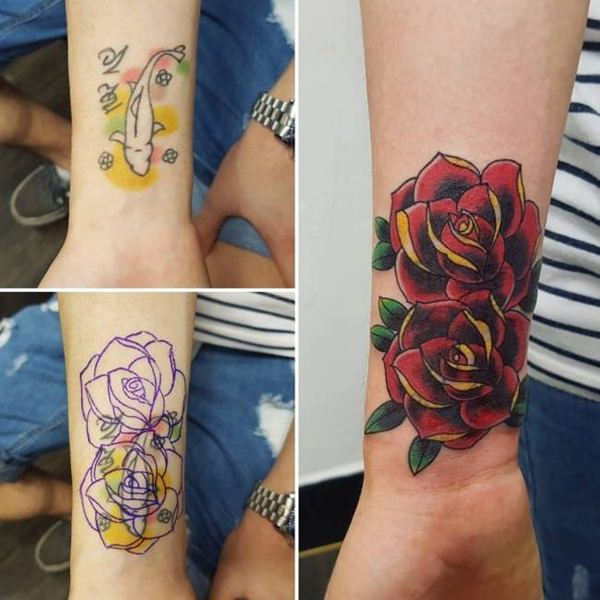 rose flower tattoo cover up