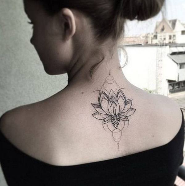 mandala flower beautiful back tattoos for ladies pictures