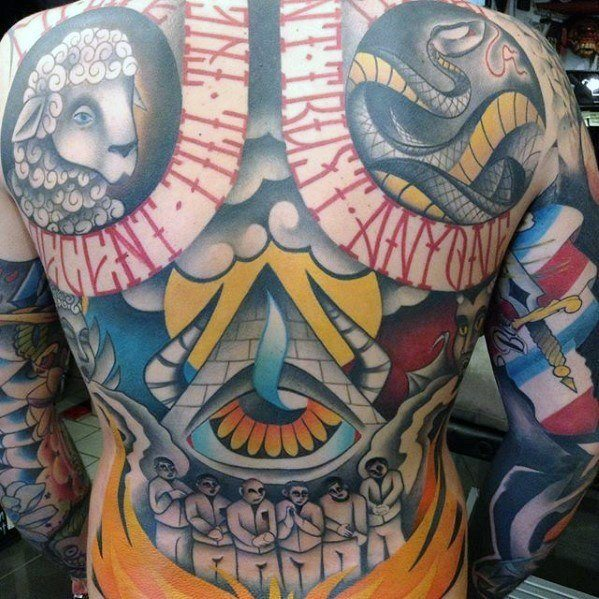 large back colourful tattoos design images