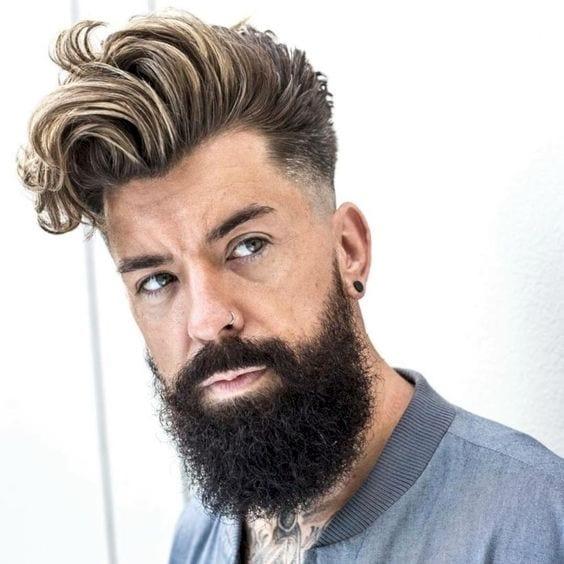 beard look with long curly hair