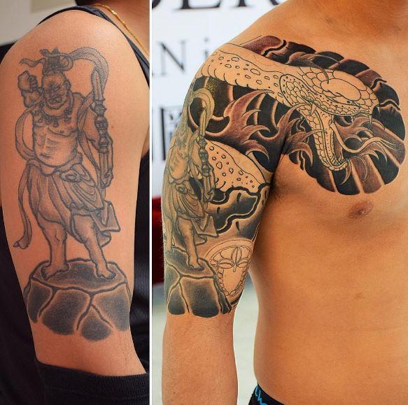 dragon good cover up tattoos design on shoulder for men
