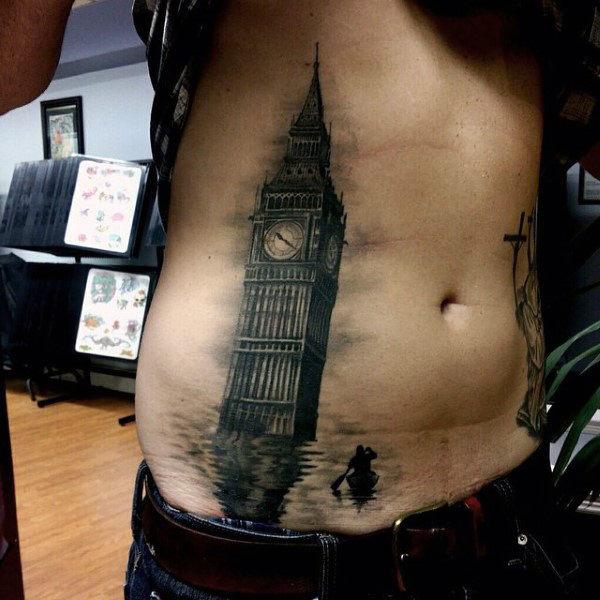 big ben stomach tattoo art for guys