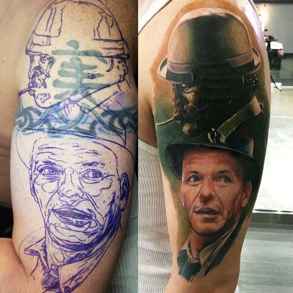 man portrait tattoo design on shoulder