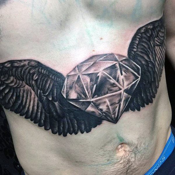 bird loyalty tattoo on stomach for male