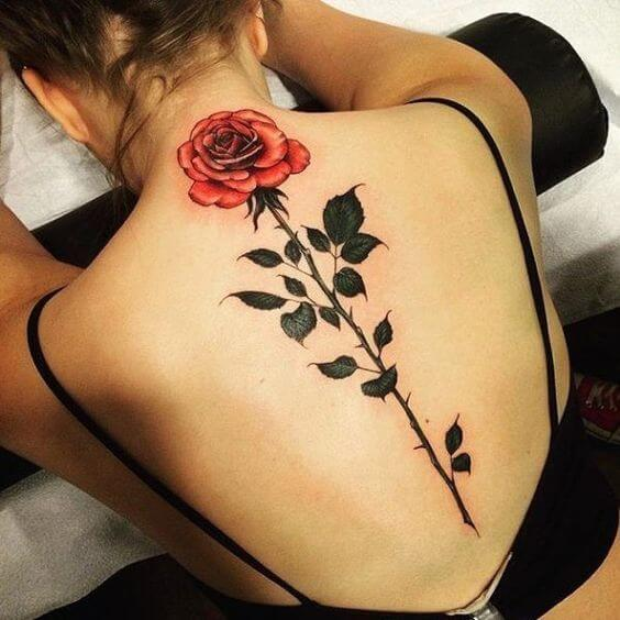 red color rose spine tattoo designs for ladies