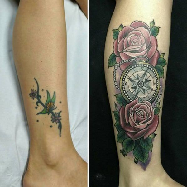 flower cover up tattoo ideas