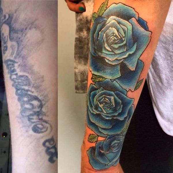 sunflower cover up tattoo