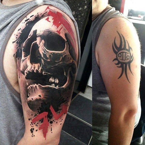 skull tattoo designs for men on shoulder