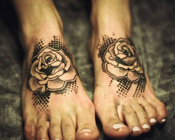 tribal rose foot tattoo designs images
