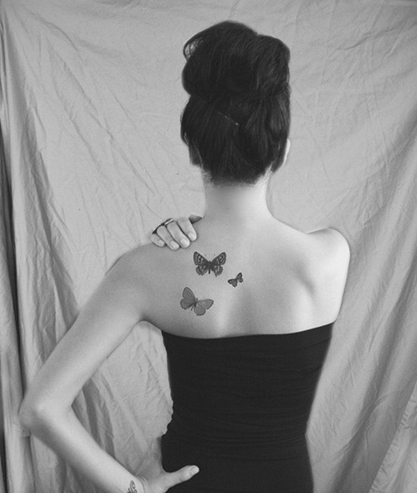 small black butterfly tattoos for womens back