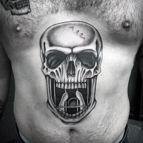 skull stomach tattoos for guys and men