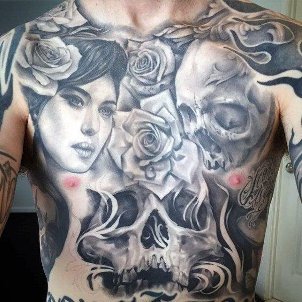 large skull stomach tattoo for male images