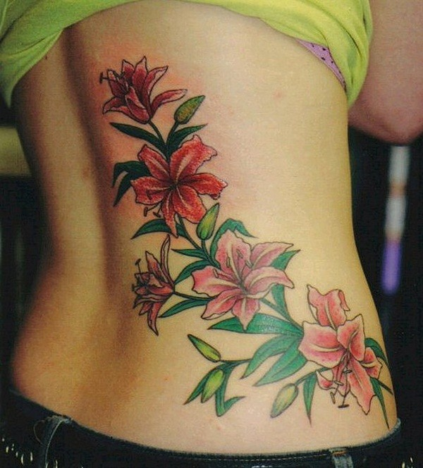 flower colorful back tattoos for females