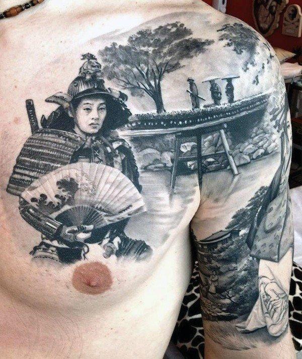 japanese samurai cover up chest tattoos for guys