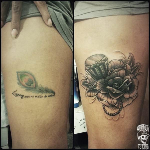 black flower tattoos on leg and foot design