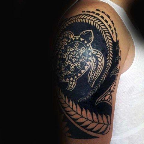 tribal turtle tattoo images on shoulder 2021