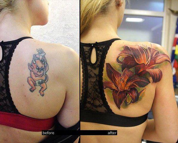 women's cherry blossom tattoos  cover up design on shoulder