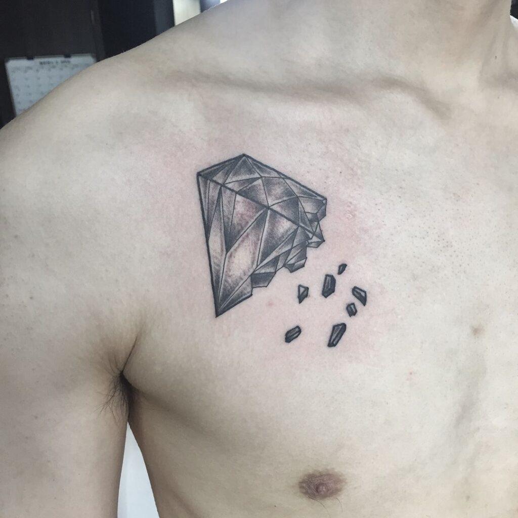 chest diamond tattoo design for men picture