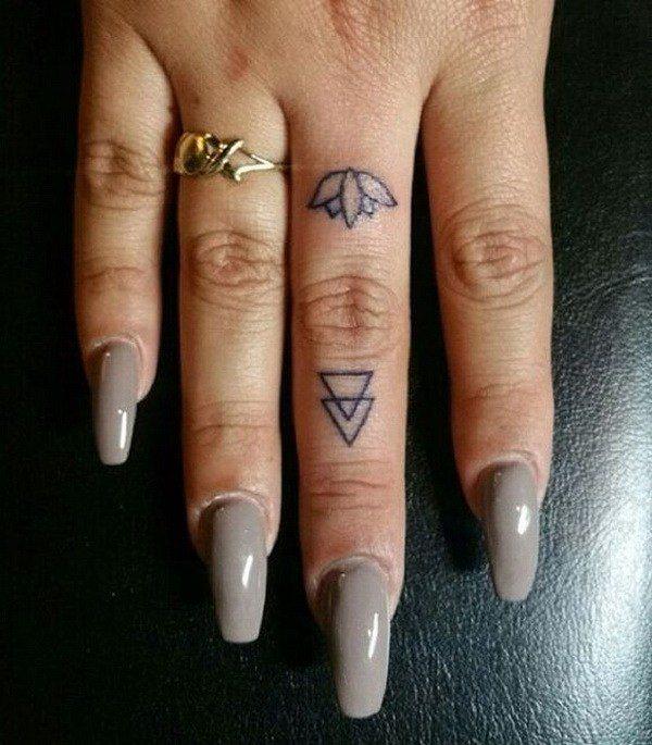 tiny flower tattoos designs on finger for female