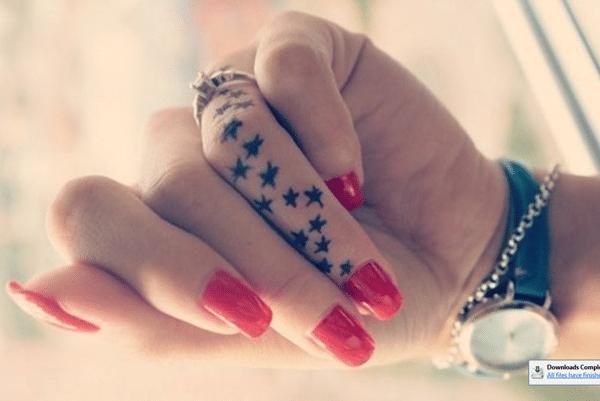 stars tattoo on finger for women