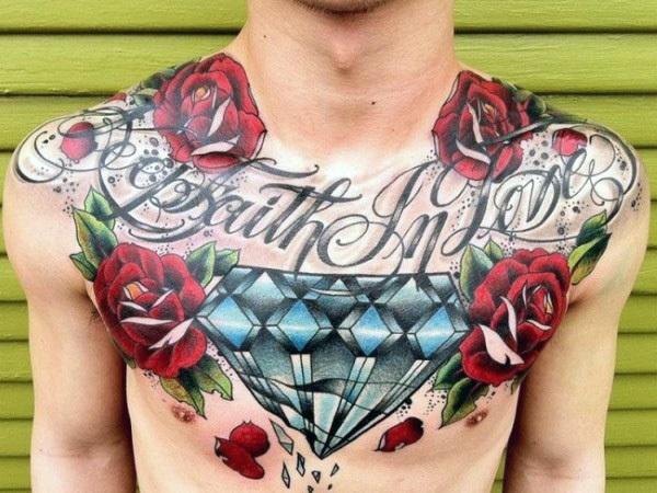 blue diamond art tattoo for men on chest