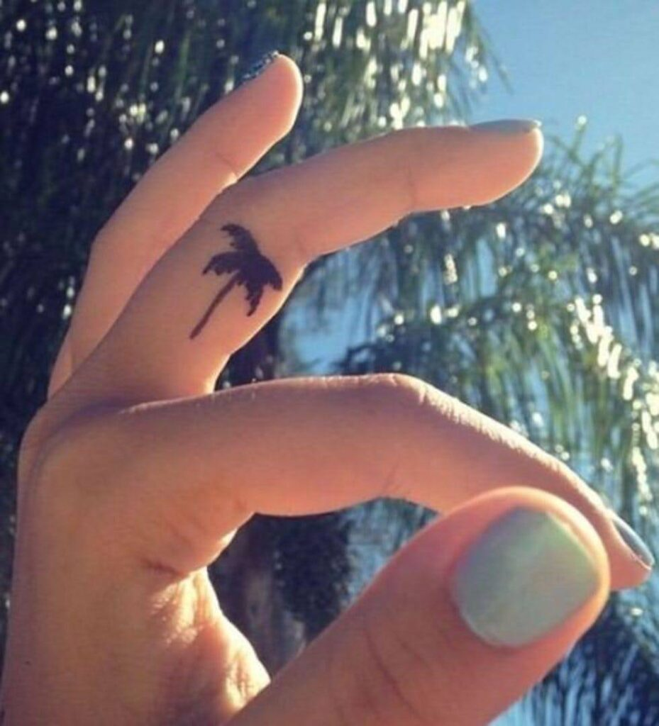 palm finger tattoo women design