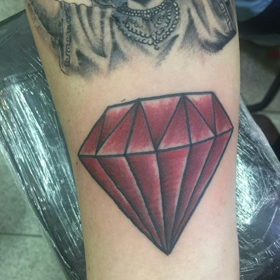 diamond birthstone tattoo on arm for male images