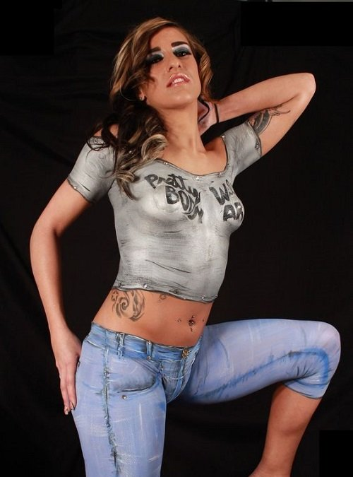 women body paint clothes design