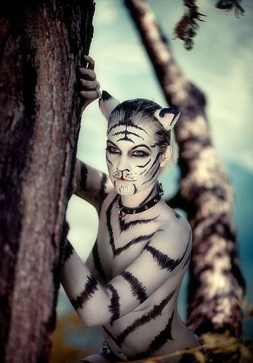women full body paint cat design images