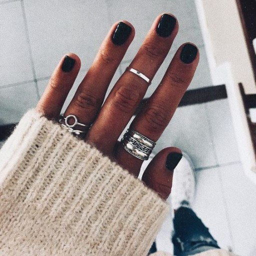 black acrylic nail colors for winter