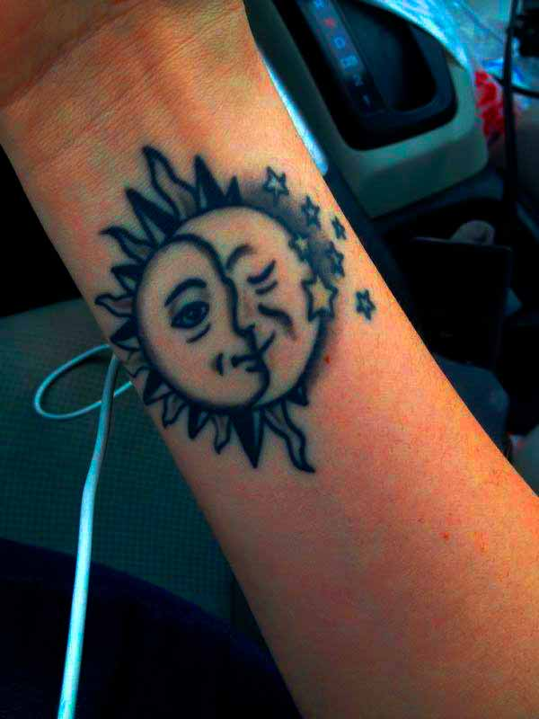 sun stencil tattoo design ideas for ladies