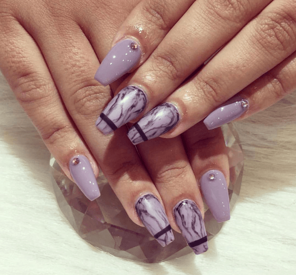 water marble nails for ladies