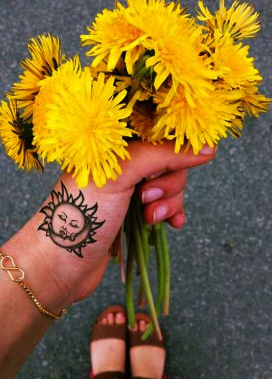 sun sunflower art on wrist