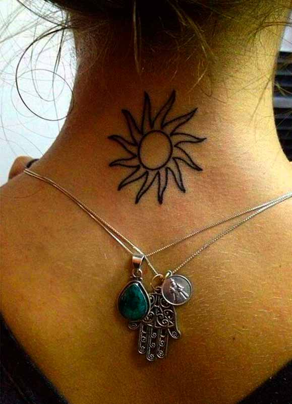 smiling sun tattoo on back for women 2021
