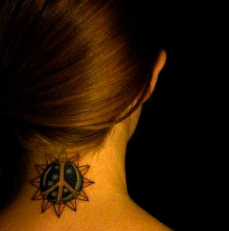 sun tribal design on neck