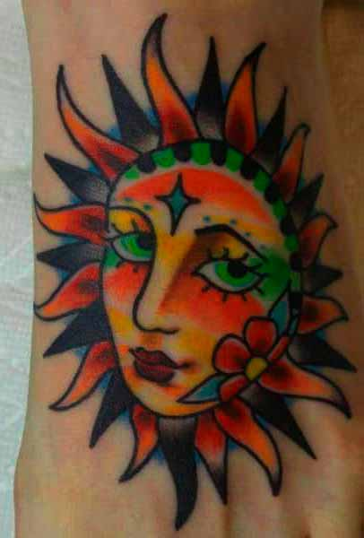 colorful sun tattoo designs