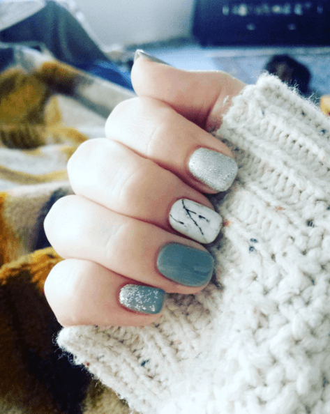 white with marble nails