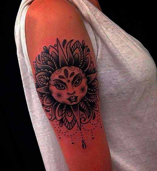 mandala sun tattoo design on shoulder for women images