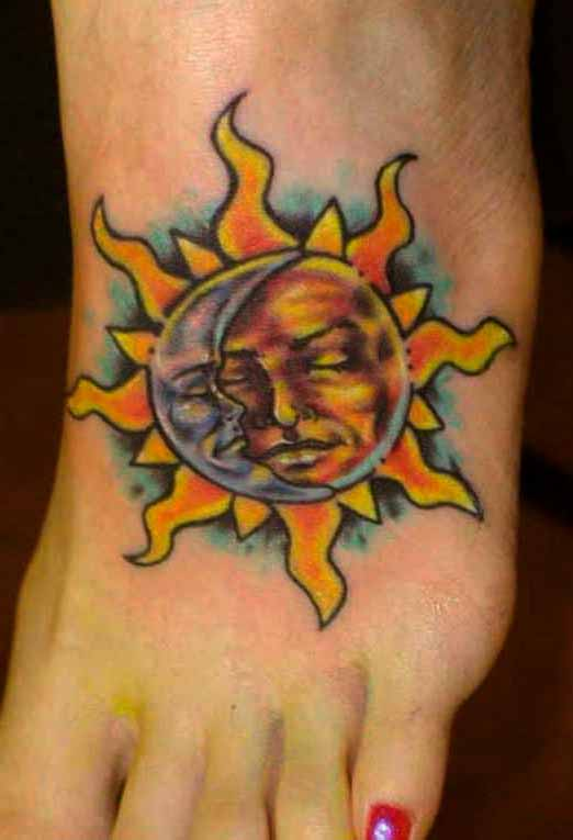 orange sun tattoo on foot