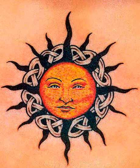 realistic sun tattoo images