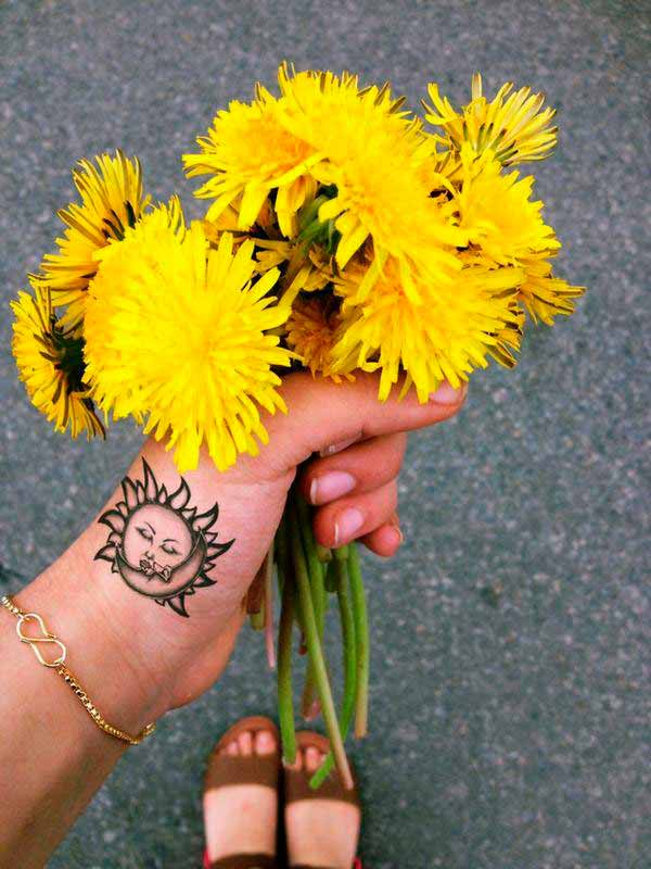 best small sun tattoo on hand