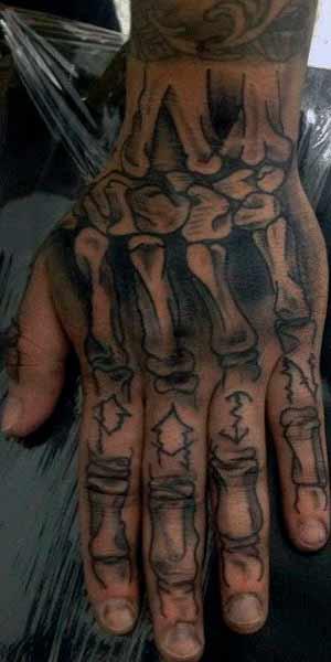 skeleton hand and finger tattoos for guys