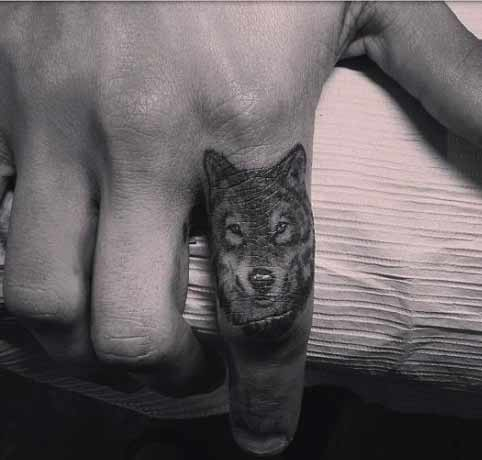 wolf finger tattoo -love