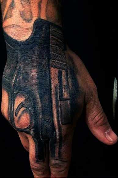 black pistol hand finger tattoo for male