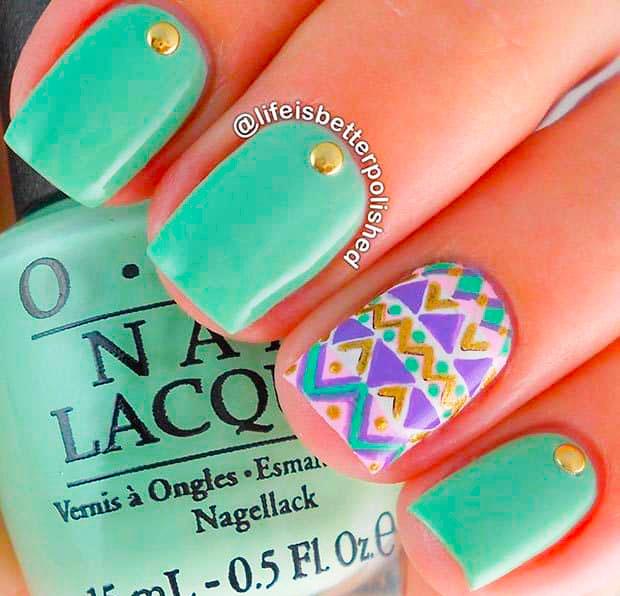Best mint green nails images