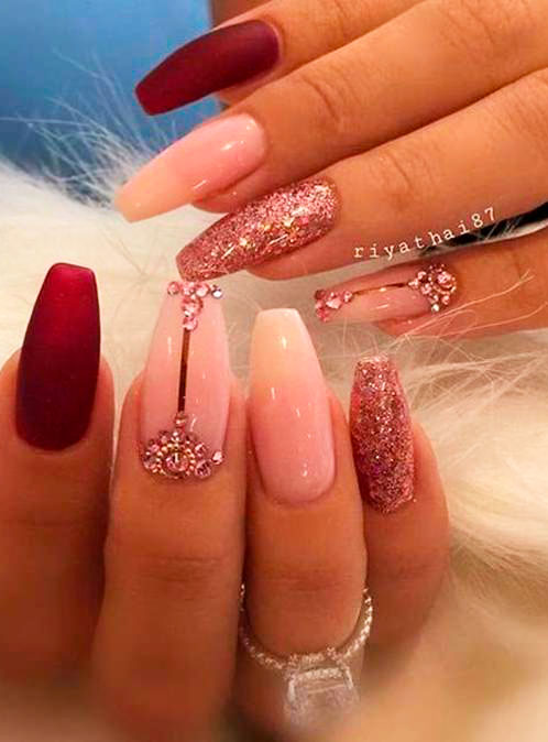 coffin shaped nails design images