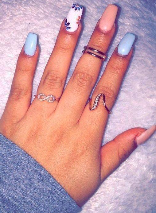 colourful white acrylic nail designs