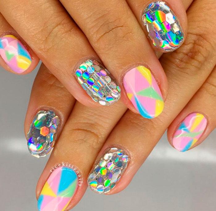 temporary colorful geometric nail design ideas